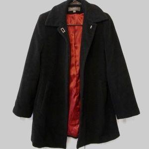 Liz Claiborne Heavy Black Wool Coat 4P Petites